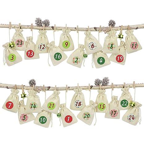 Papierdrachen 24 Adventskalender Leinensäckchen Zum Befüllen Mit Rotem Bäkergarn Und Klammern Beutel Zum Selber Dekorieren Geschenksäckchen