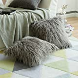 Pack of 2,Miulee Decorative New Luxury Series Merino Style Grey Fur Throw Pillow Case Cushion Cover for Sofa Bedroom Car 18 x 18 Inch 45 x 45 Cm