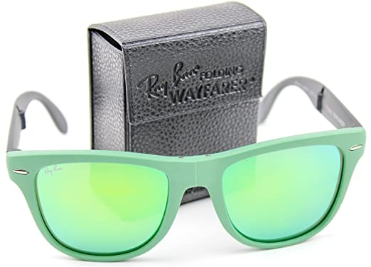 5587d3df4b Ray-Ban RB4105 602119 54mm Wayfarer Folding Green Frame   Crystal Mirror  Green Lenses Made