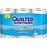 Quilted Northern Ultra Soft & Strong Toilet Paper with CleanStretch, 48 Double Rolls (Four 12-Roll Packages), Equivalent to 96 Regular Rolls (4 Pack(48 Double Rolls))