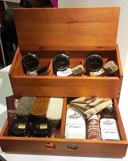De zafiro BURGOL caja de zapatos-zapatería, para limpieza de la carcasa de madera con capacidad para incluye-grabado de la placa: Amazon.es: Hogar