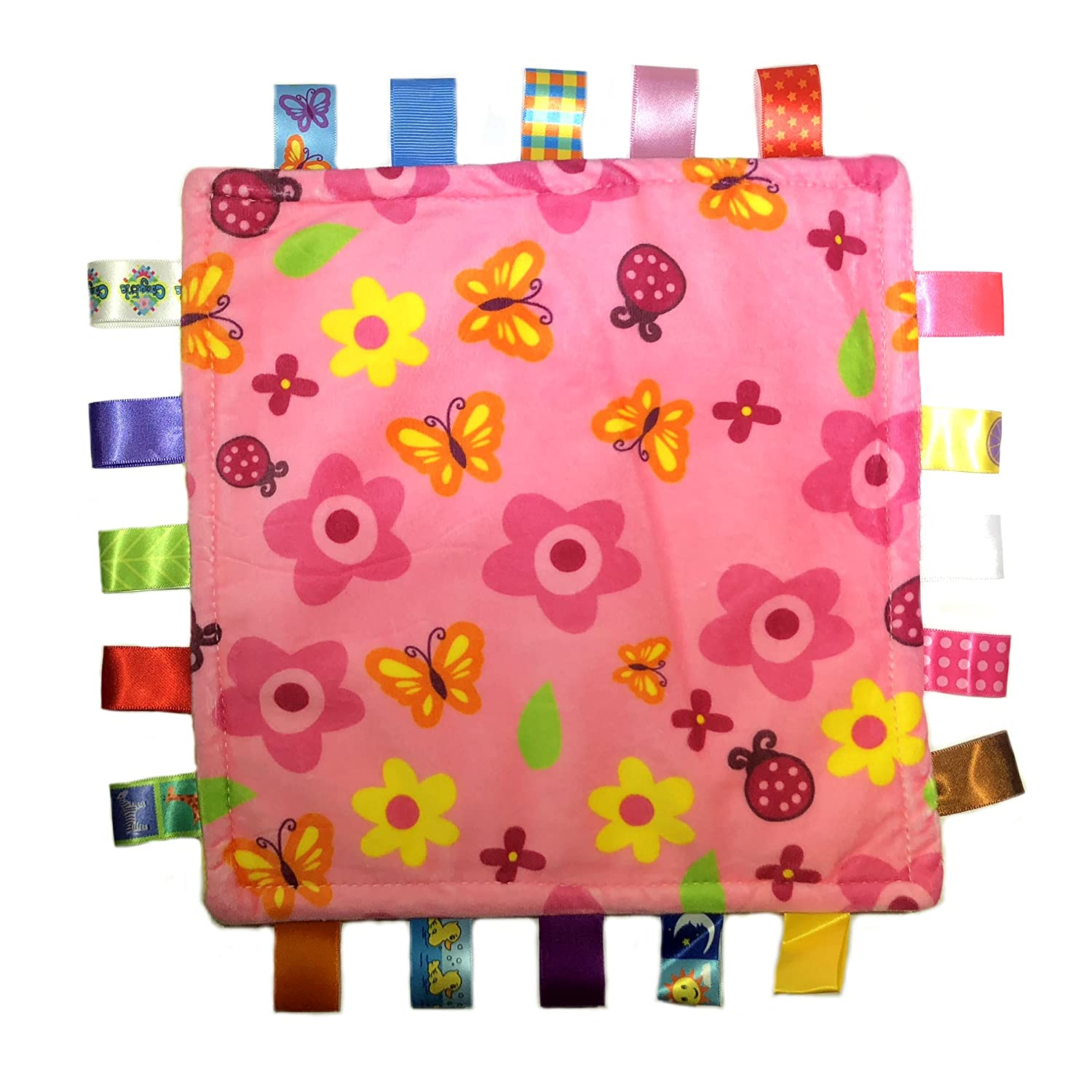 pink flowers and butterflies Taggies Colors//Style Blanket Lovey