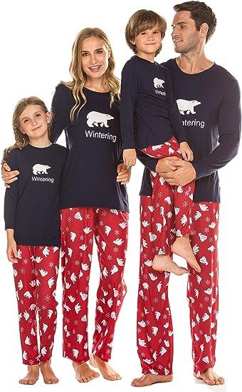 Sleep On It Girls Red Navy Blue What Fun Christmas Pajamas with Socks
