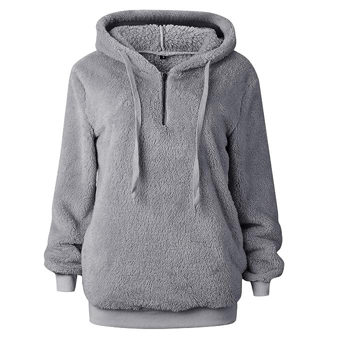 29c6f2fa268da MYSHOW Women's Teddy Fleece Hoodie Locker Oversize Fleece Sweatshirt  Pullover Outerwear Hoodie Light Grey S