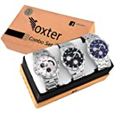 Foxter Quartz Movement Analogue Display Multicoloured Dial Men's Watch(ARMBLK~27GREY~27SMILY) - Pack of 3