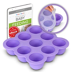 KIDDO FEEDO Silicone Baby Food Storage - Freeze Baby Food, Breast Milk, Ice Cubes and More - Free E-book by Award-winning Author/Dietitian - Purple