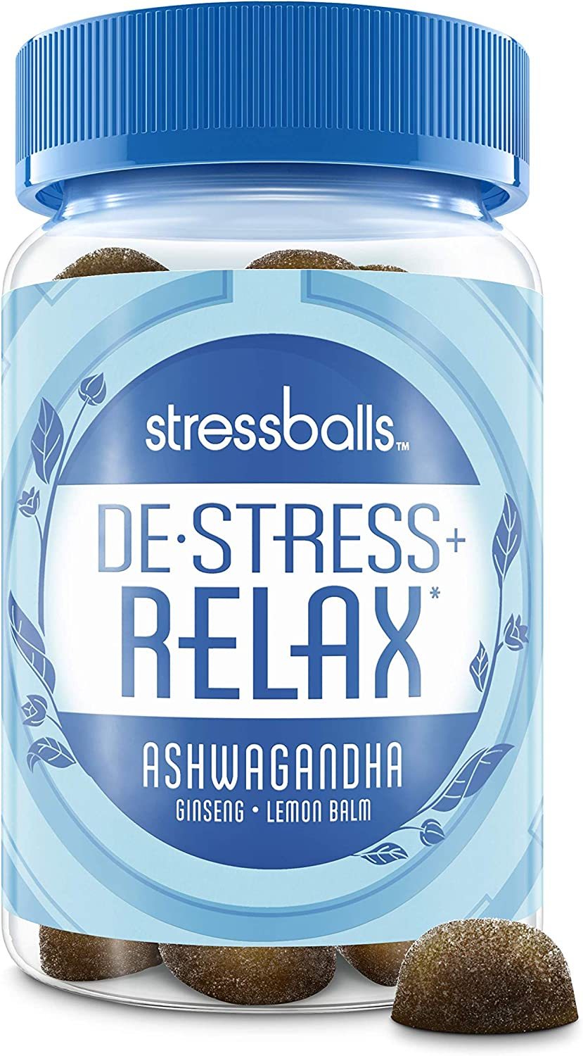 Stressballs Relax Stress Relief Supplement to Help You De-Stress and Relax,* 46 Gummies with an Herbal Blend of Ashwagandha, Lemon Balm and Ginseng