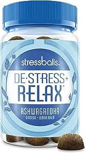 Stressballs Relax Stress Supplement to Help You De-Stress and Relax,* 46 Gummies with an Herbal Blend of Ashwagandha, Lemon Balm and Ginseng