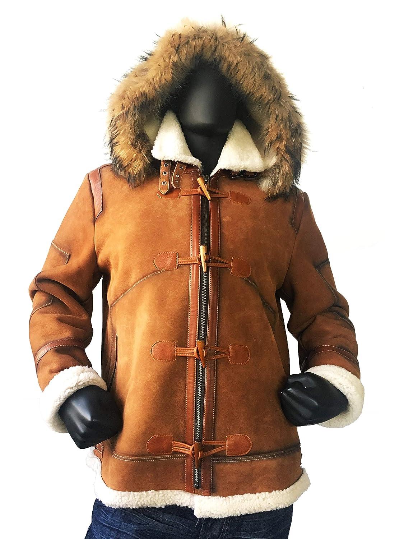 8e63328ed Mens Aviator Bomber B3 Shearling Sheepskin Leather Jacket Cognac Brown Fur  Hood Toggles Regular and Big & Tall Sizes