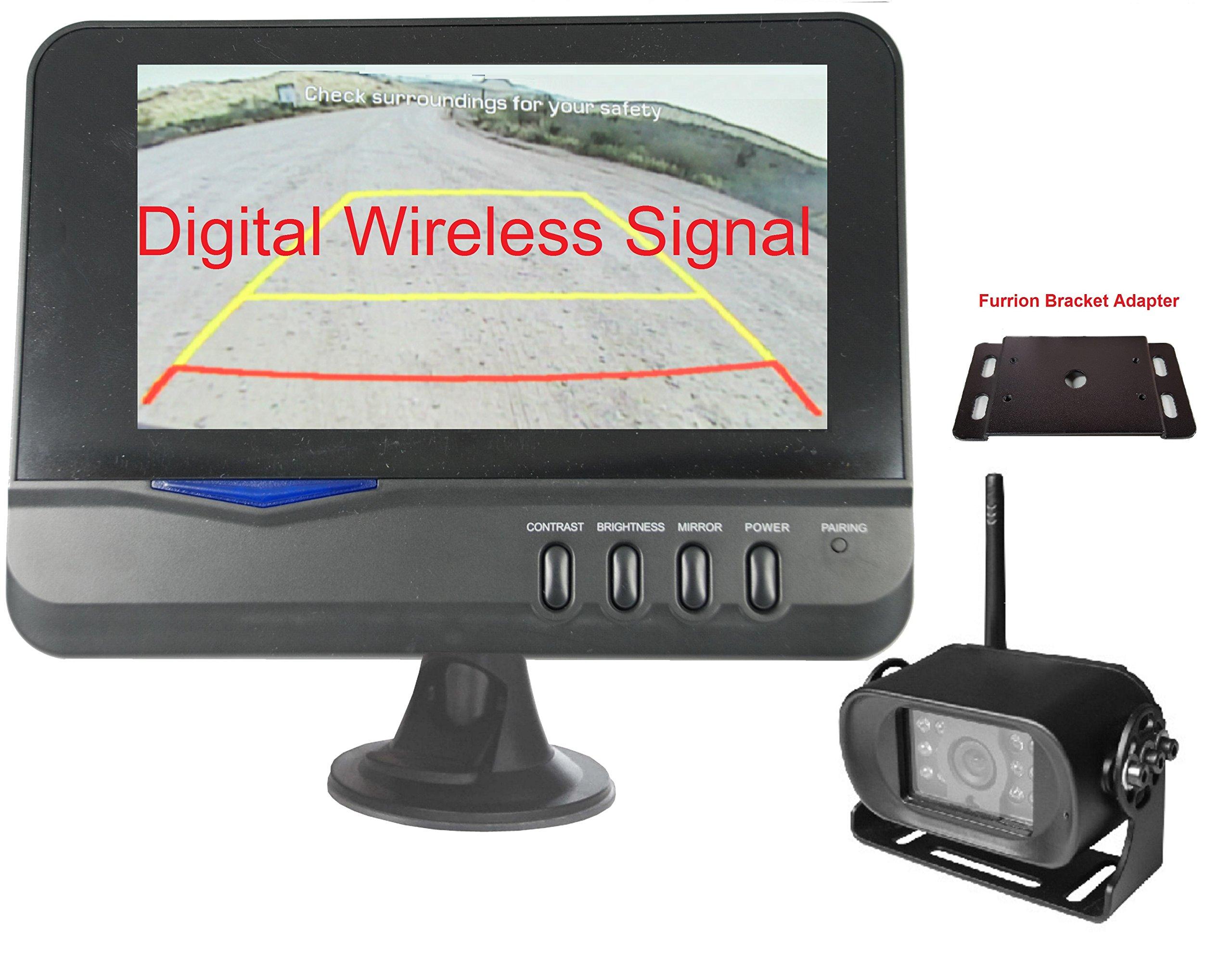 4Ucam Digital Wireless Camera + 7'' Monitor + Adapter for Furrion FRCBRKT-BL Pre-install Mounting Kit (FOS48T-BL/FOC12TA-BL) for RV, Trailer, 5th Wheels