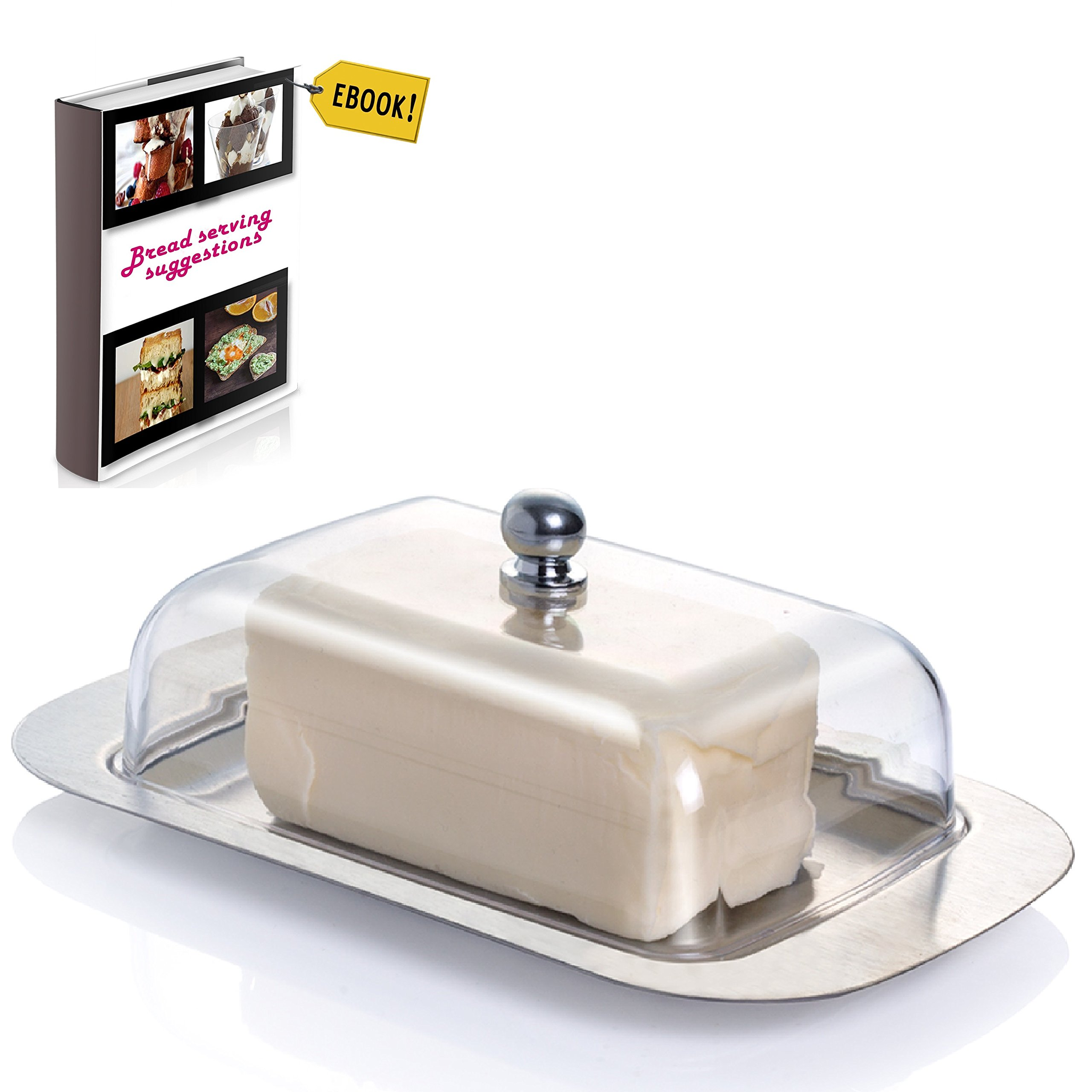 Covered Butter Dish For Kitchen - Stainless Steel Metal Saucer Clear plastic Lid + FREE Bread Serving Suggestions eBook 7.3''x4.7'' by All-Green Products
