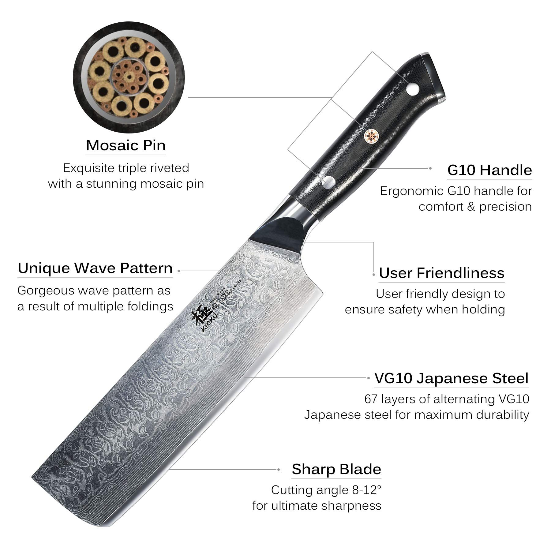 KYOKU Daimyo Series - 6-Inch Nakiri Vegetable Chef Knife with Sheath Case - Japanese VG10 Steel Core 67-Layer Forged Damascus Blade - Full Tang - G10 Handle with Mosaic Pin by KYOKU (Image #3)