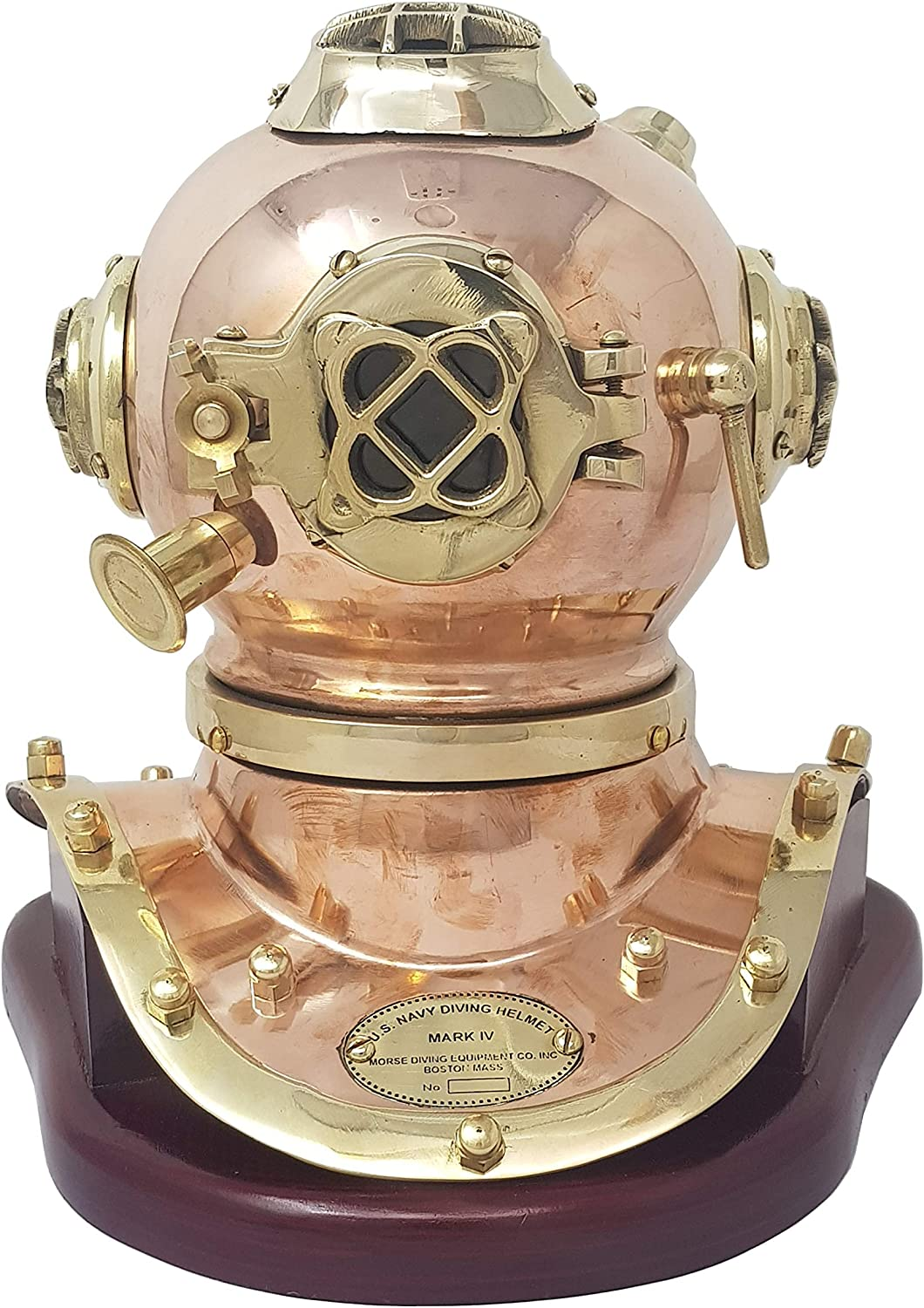 Brass Nautical - Medium Size Diving Helmet Replica on Fixed Base, Nautical Décor Marine Gift Diver Helmet Scuba Helmet Replica