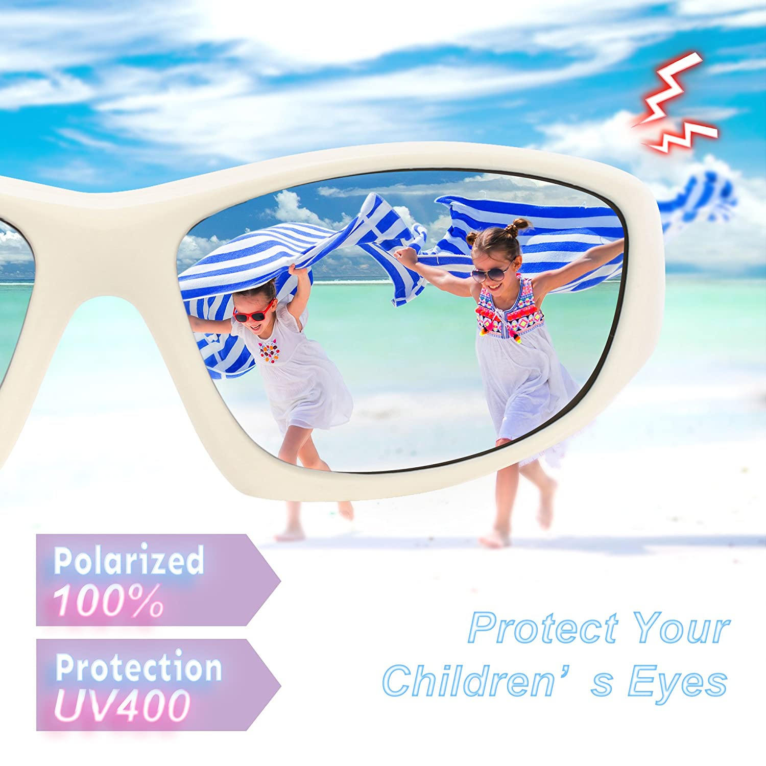 RIVBOS Rubber Polarized Sunglasses Flexible Kids Glasses for Boys and Girls for 3-10 Age RBK103