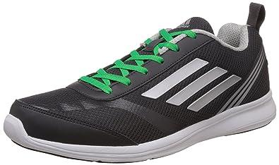 adidas Men's Adiray M Dark Grey, Silver and Green Running Shoes - 10 UK/