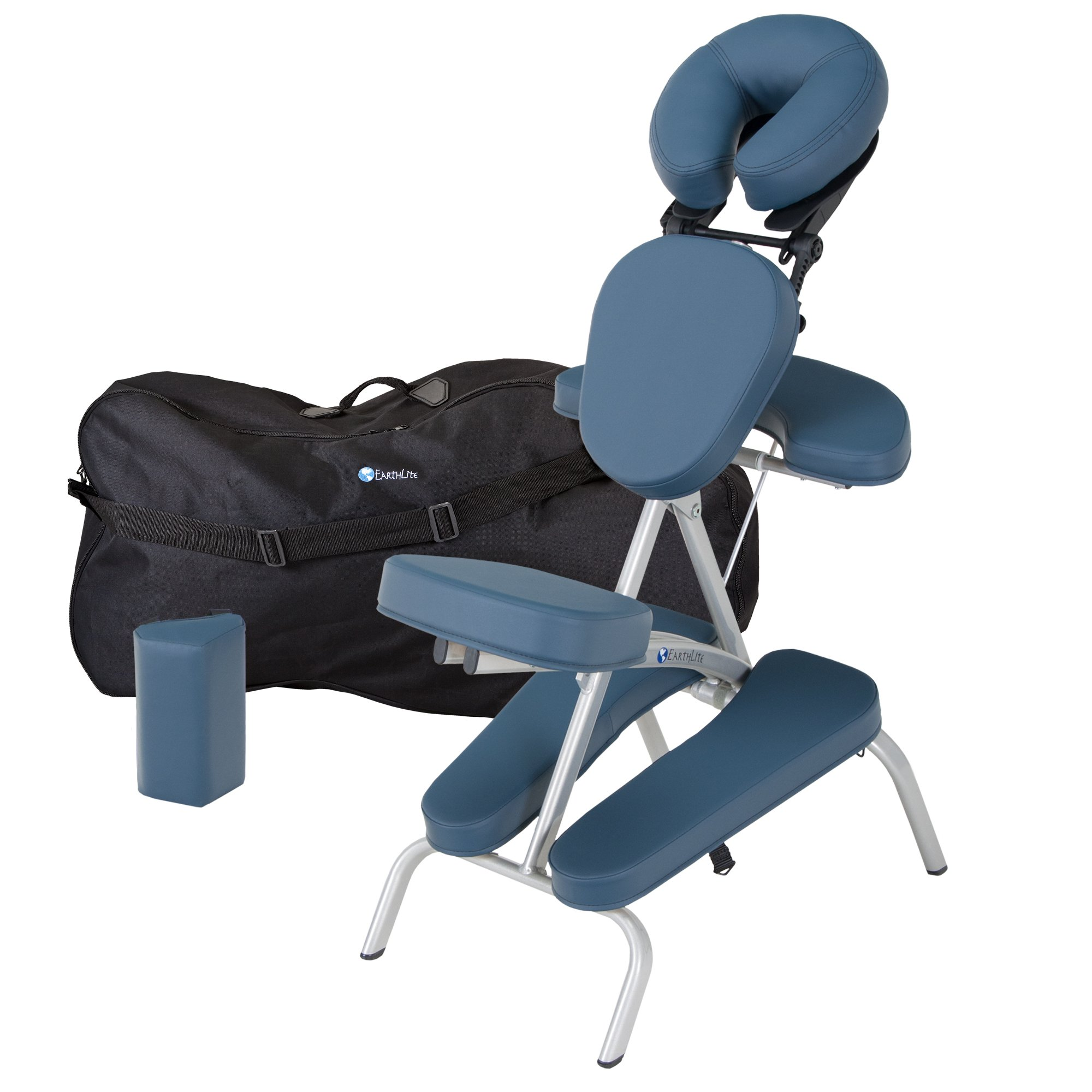 EARTHLITE Portable Massage Chair Package VORTEX - Portable, Compact, Strong and Lightweight incl. Carry Case, Sternum Pad & Strap (15lbs), Mystic Blue by EARTHLITE