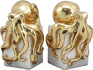 Ebros Contemporary Gold Color Octopus Light Duty Bookends Statue Set Nautical Coastal Resin Decorative Office Study-Room Library Desktop Decor Figurines (White Base)