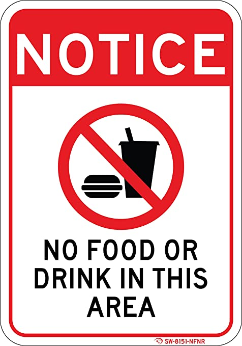 Amazoncom No Food Or Drink In This Area Sign Easy To Read 7x 10