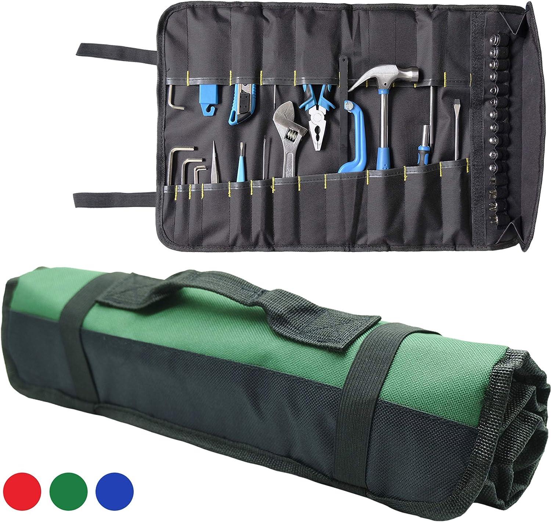 Organizador de herramientas enrollable, bolsa de 22 bolsillos interiores + 15 bolsillos para electricista, HVAC Repairman, Craftsman, Contratista, Framer: Amazon.es: Bricolaje y herramientas