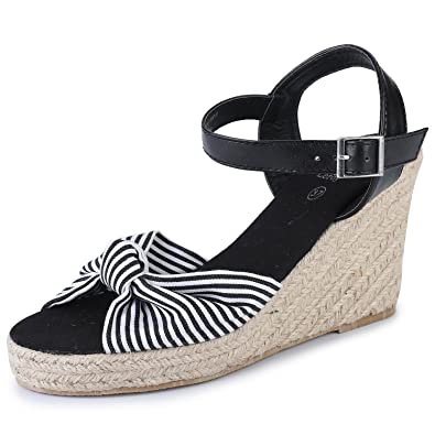 bed06dd349 Alexis Leroy Women's Open Toe Buckle Strap Bow Wedge Espadrille Sandals New  Black 9.5 B(
