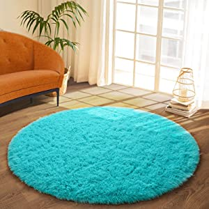 DETUM Soft Round Fluffy Bedroom Rugs for Girls Boys, Fuzzy Circle Area Rug for Nursery Playing Reading Room, Kids Room Carpets Shaggy Cute Rugs for Dorm Bedside Home Décor, 4 Feet, Teal Blue