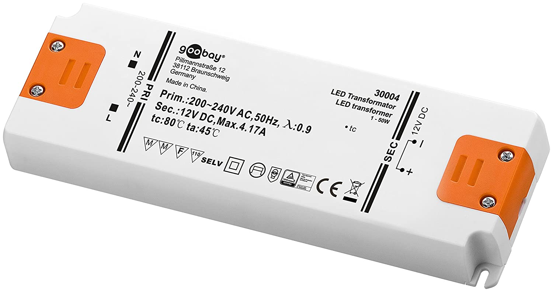 LED-Transformator 230V (AC) auf 12V (DC) für 1 bis 50 Watt LED ...