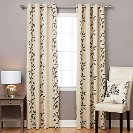 Best Home Fashion Leaf Print Thermal Insulated Blackout Curtains