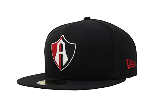New Era 59Fifty Hat Guadalajara Club Atlas Mexican Soccer League Fitted  Black Cap (6 7 fb12ea85e41