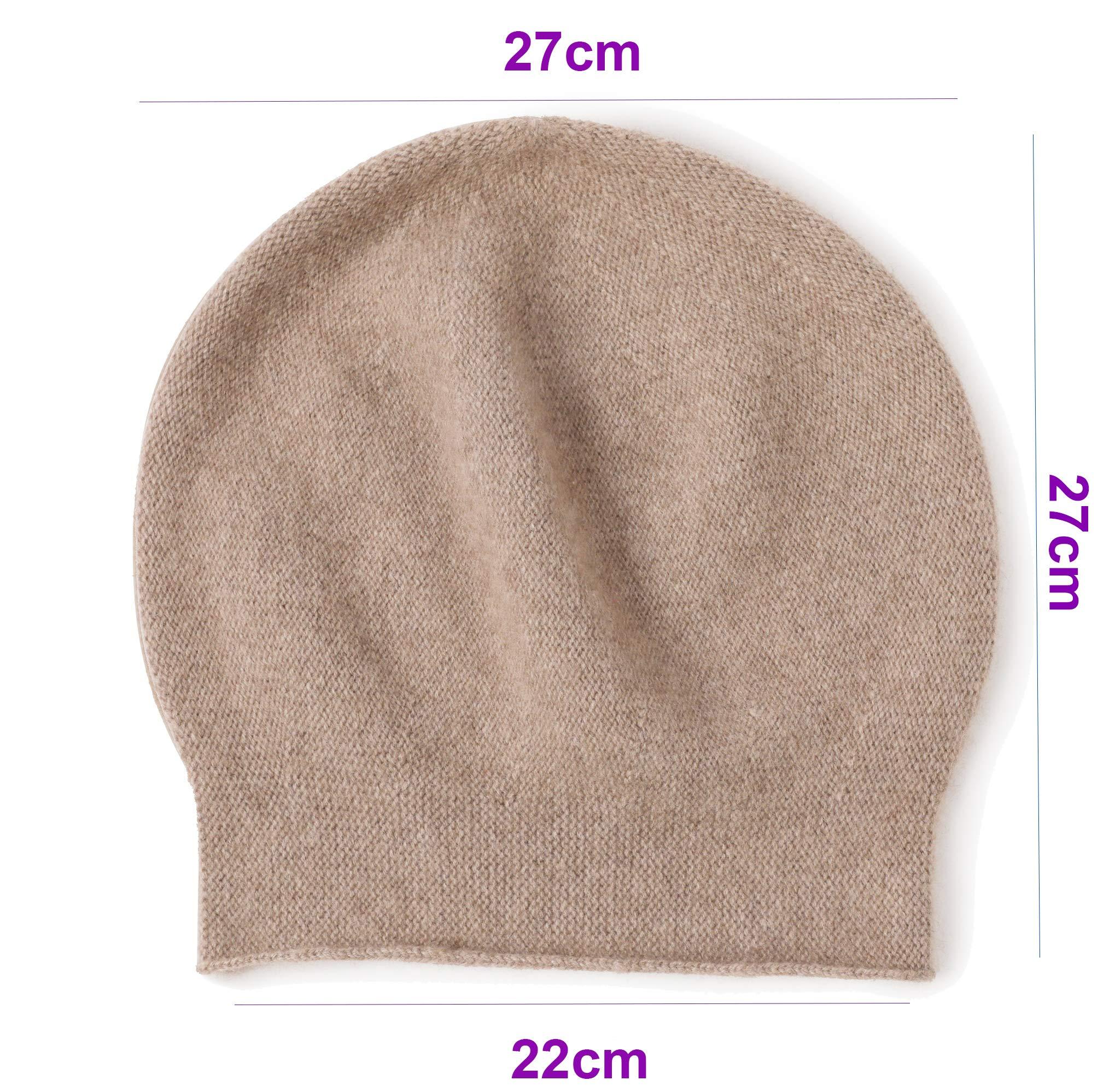 Ellettee 100% Pure Cashmere Slouchy Beanie Womens Knit Caps Khaki