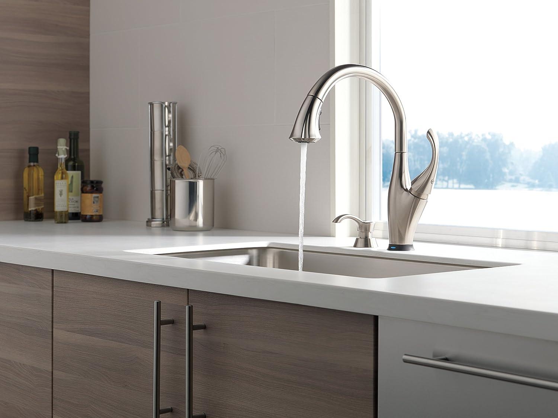 Delta grifo 9192t-sssd-dst Addison sola manija desplegable grifo de la cocina con touch2o tecnología y dispensador de jabón, acero inoxidable: Amazon.es: ...