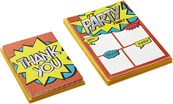 Pack Includes 10 Invites and 10 Thank You Notes Hallmark Comic Strip Invitations and Thank You Cards Set