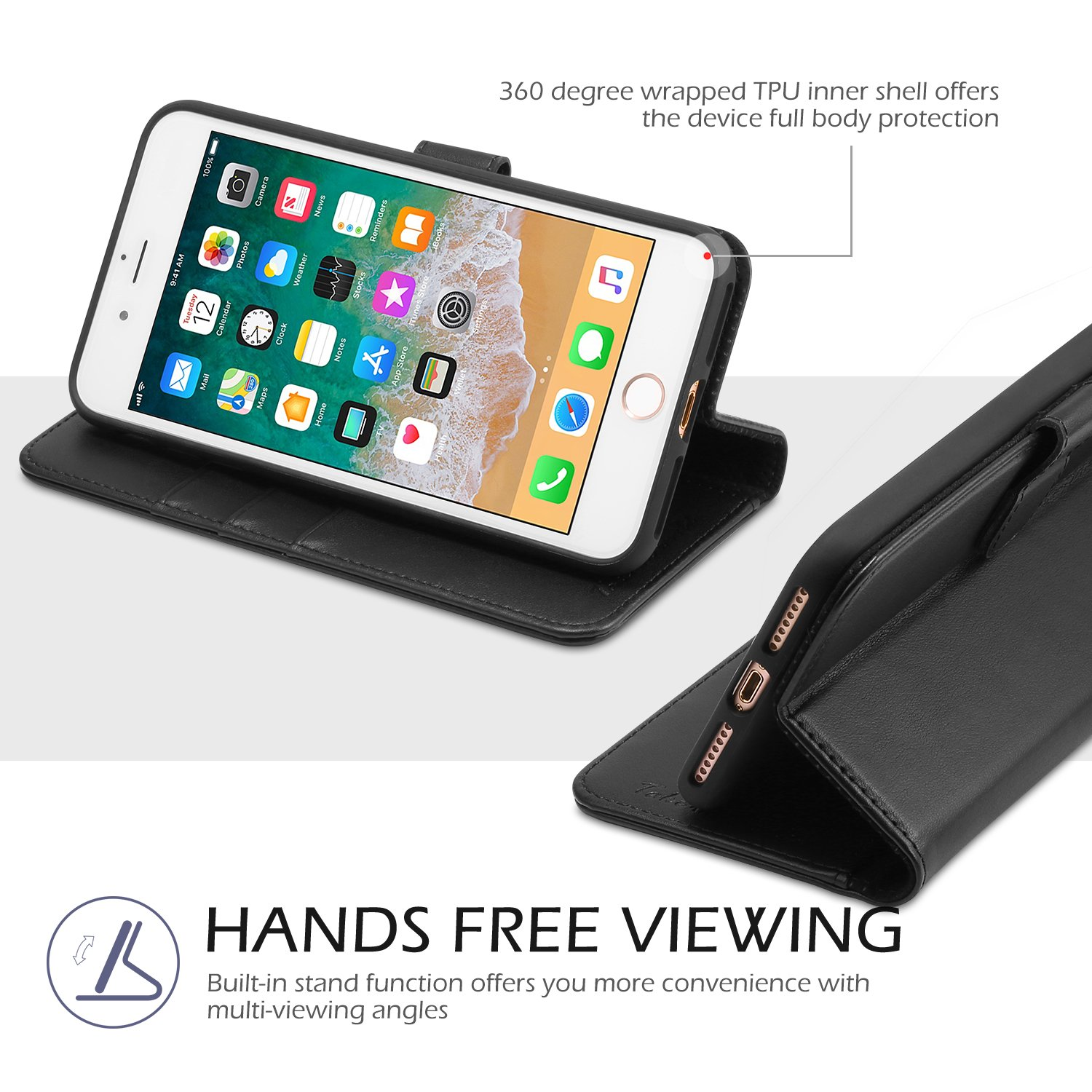 iPhone 8 Plus Wallet Case, iPhone 7 Plus Case, TUCCH Premium PU Leather Flip Folio Case with Card Slot, Cash Clip, Stand Holder and Magnetic Closure [TPU Shockproof Interior Protective Case], Black by TUCCH (Image #6)