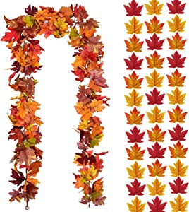 EPDPLAY Artificial Fall Maple Leaves Garland and Fake Leaves Decoration, Hanging Vines Autumn Wreath - for Indoor Outdoor Wedding Party Garden Wall Doorway Backdrop Thanksgiving Fireplace Decor.