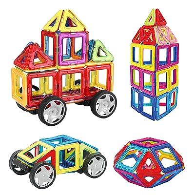 INTEY Blocs de Construction Magnétiques 32 Pièces Jouet Intellectuel DIY Jeu de Construction Empilage Educatif et Créatif Cadeau Anniversaire Fête pour Enfants