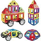 INTEY Bloques de Construcción Magnéticos,juguetes construccion Con Mini 32 Piezas Creativos y Educativos Bloques Construccion Niños Para Niños Construir Una Casa, Un Coche, Torre, Ruedas Grandes