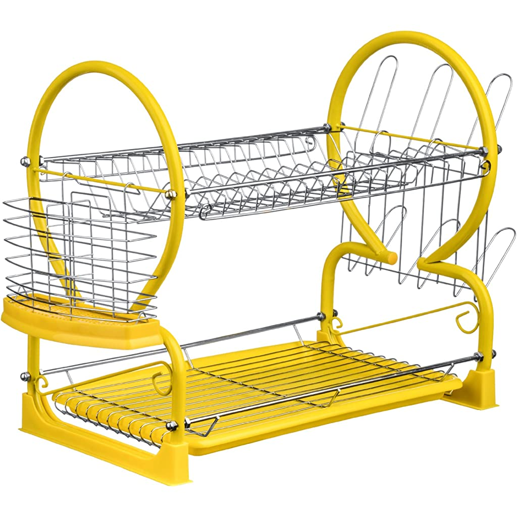 Premier Housewares Yellow 2-Tier Dish Drainer