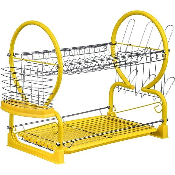 Premier Housewares Yellow 2-Tier Dish Drainer