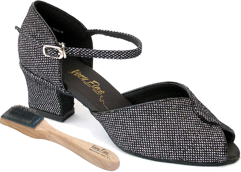 Very Fine Womens Salsa Ballroom Practice Latin Dance Shoes Style 6028 Bundle with Dance Shoe Wire Brush Black Sparklenet 8.5 M US Heel 2 Inch