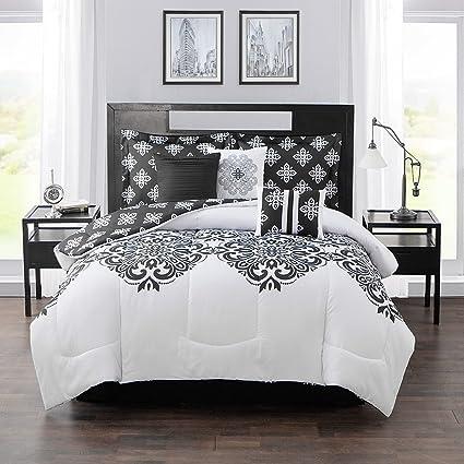 Amazon 7pc black white scroll work girls damask theme comforter 7pc black white scroll work girls damask theme comforter king set boho chic bohemian scrollwork mightylinksfo