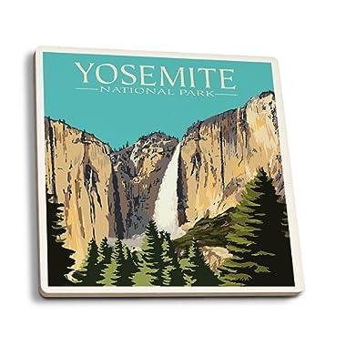 Lantern Press Yosemite National Park, California - Yosemite Falls (Set of 4 Ceramic Coasters - Cork-Backed, Absorbent)