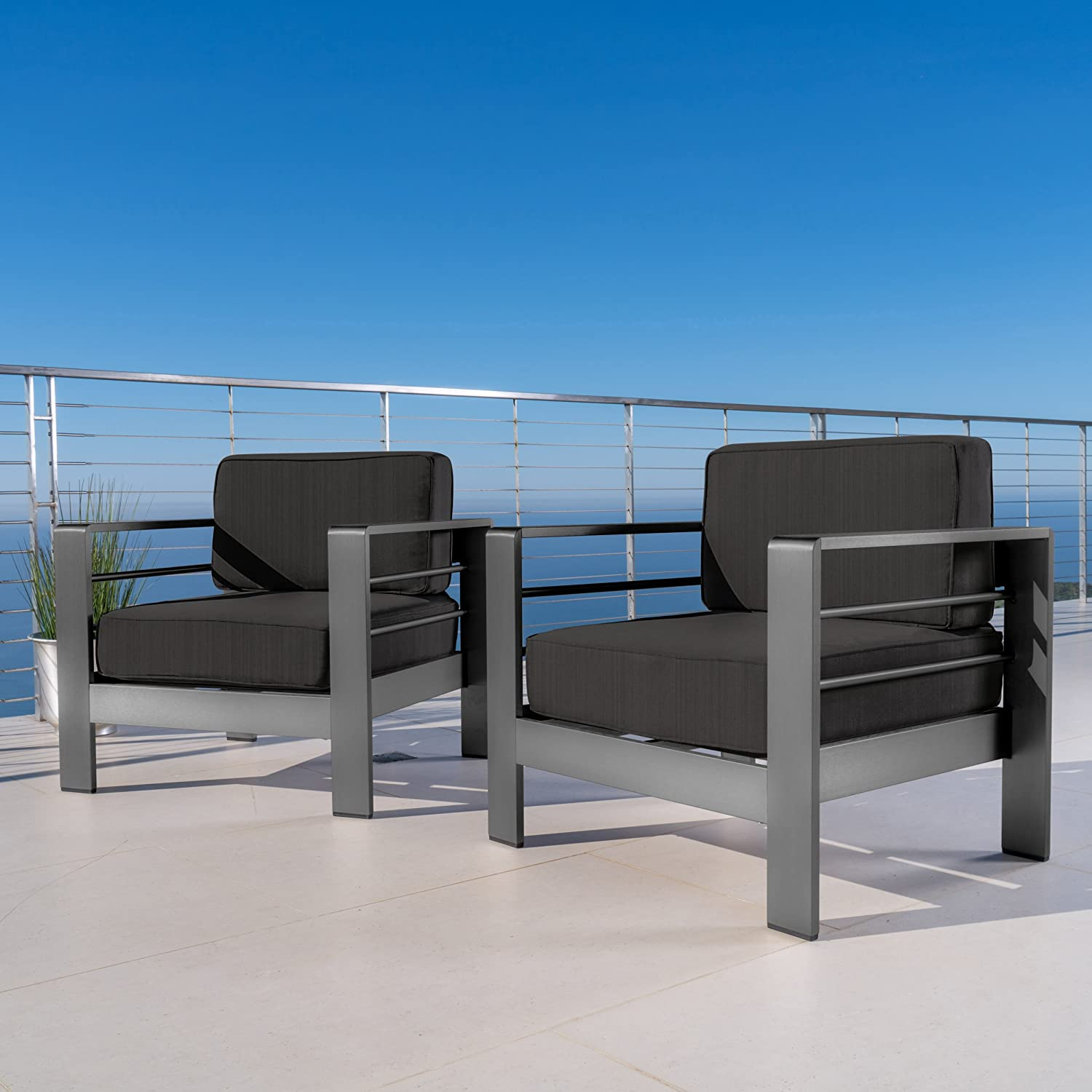 Christopher Knight Home Crested Bay Patio Furniture | Outdoor Grey Aluminum Club Chairs with Dark Grey Water Resistant Cushions (Set of 2)