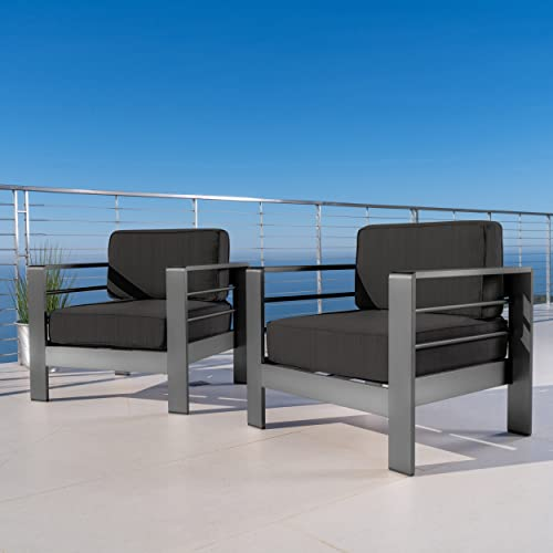 Christopher Knight Home 301795 Crested Outdoor Club Chairs with Cushions Set of 2 , Grey Dark Grey