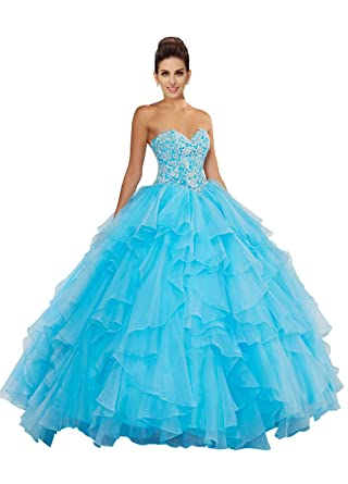 Fannydress Ruffles Lace Beaded Prom Dresses 5th Grade Strapless Lace-up Organza Quinceanera Dress Cheap 2018 at Amazon Womens Clothing store: