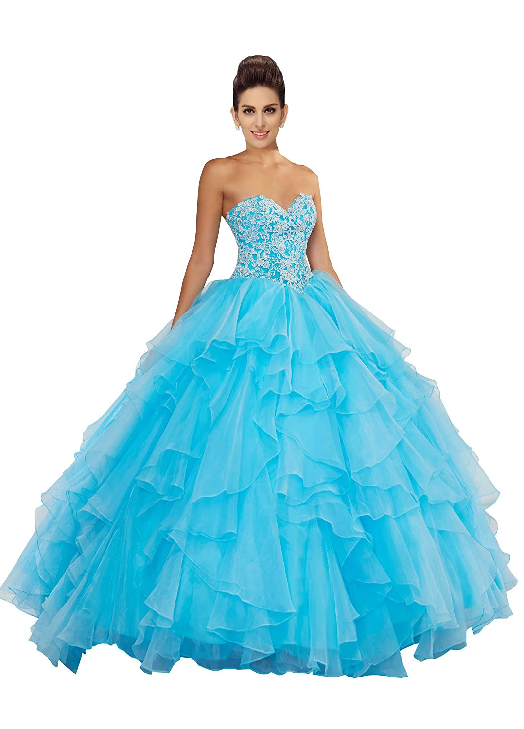 5d04d92419f Fannydress Ruffles Lace Beaded Prom Dresses 5th Grade Strapless Lace-up Organza  Quinceanera Dress 2019 at Amazon Women s Clothing store