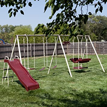 Flexible Flyer Play Park Swing Set W/ Slide, Swings, Air Glider,