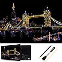HOMEWINS Scratch Paper Art Colorful City 400 x 285mm, 1 City Drawing Board + 1 Free Drawing Black-coated Board with Tool Pen and Soft Brush (Tower Bridge)