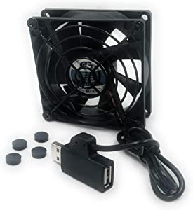 Coolerguys Single USB Fan for Playstation, Xbox, Receivers, Roku (80mm)