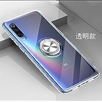 yuehuanyi Slim Fit Transparente Carcasa, 360° Giratorio Metal Anillo Kickstand,con Soporte Magnetic Car Mount Function Funda Case
