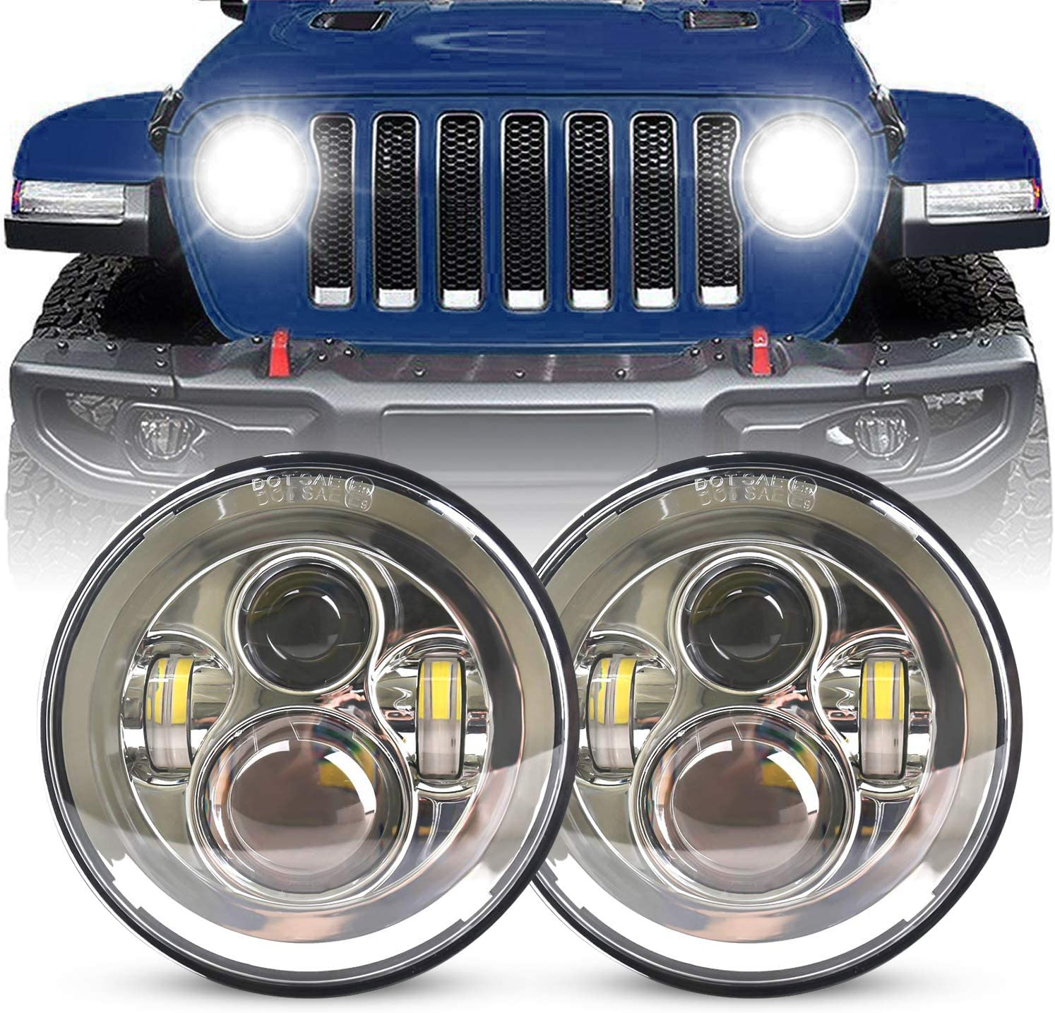YEEGO 7 inch Round CREE LED Headlight High Low Beam for 1997-2018 JK TJ LJ CJ Rubicon Sahara Willys Hummber H1 H2 DOT Approved Silver Pair