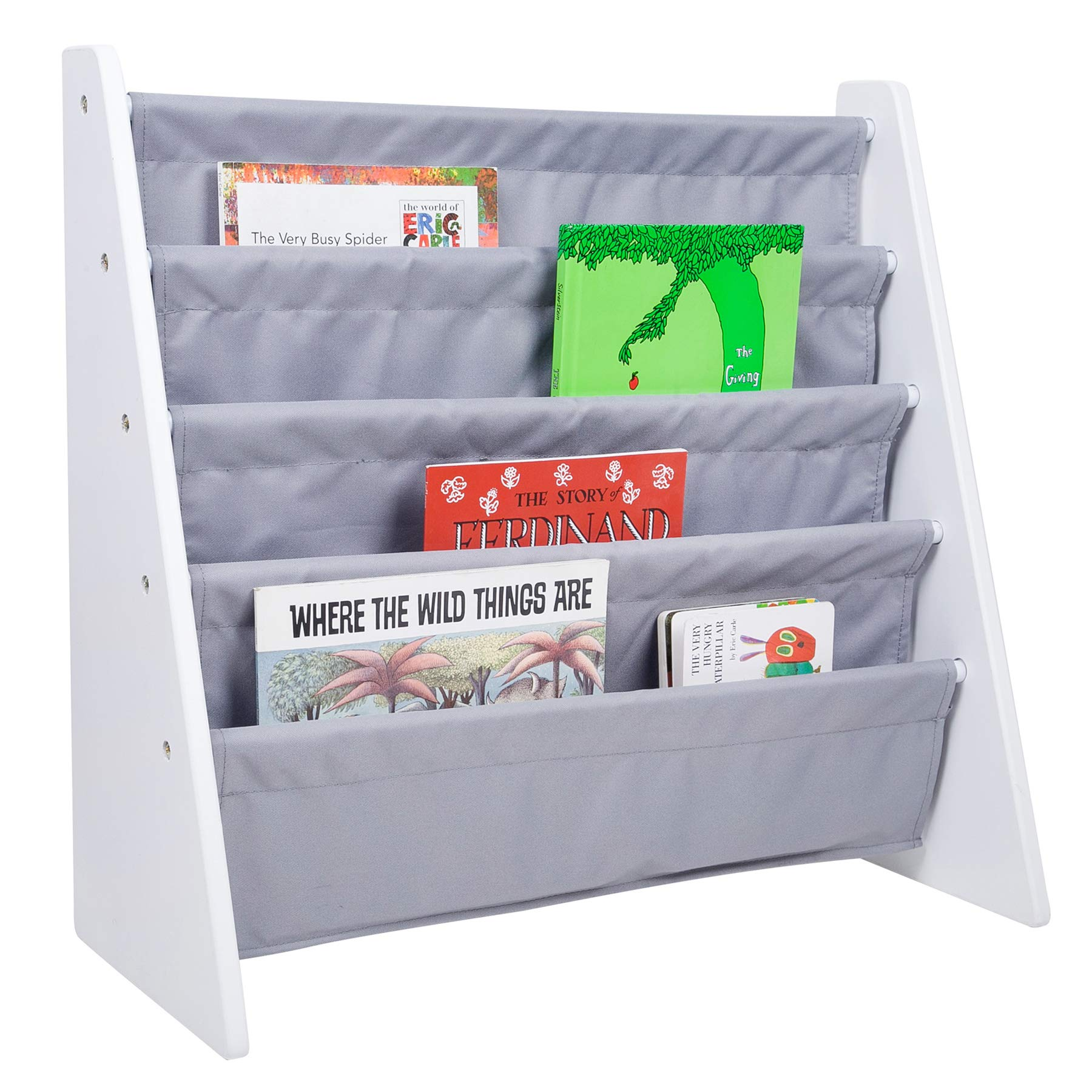 Wildkin Sling Bookshelf, White with Grey